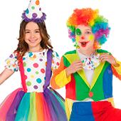 Déguisements de clowns, cirque et arlequins