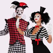 Disfraces de payasos, circo, arlequines y bufones
