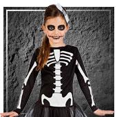 Disfraces de esqueletos y muerte para niña