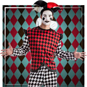 Disfraces de payasos, circo, arlequines y bufones para hombr