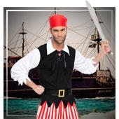 Disfraces para hombre de piratas, bucaneros y corsarios