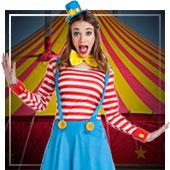 Disfraces de payasos, circo, arlequines y bufones para mujer
