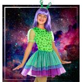 Disfraces de aliens astronautas y espacio para niña