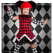 Disfraces de payasos, circo, arlequines y bufones para niña