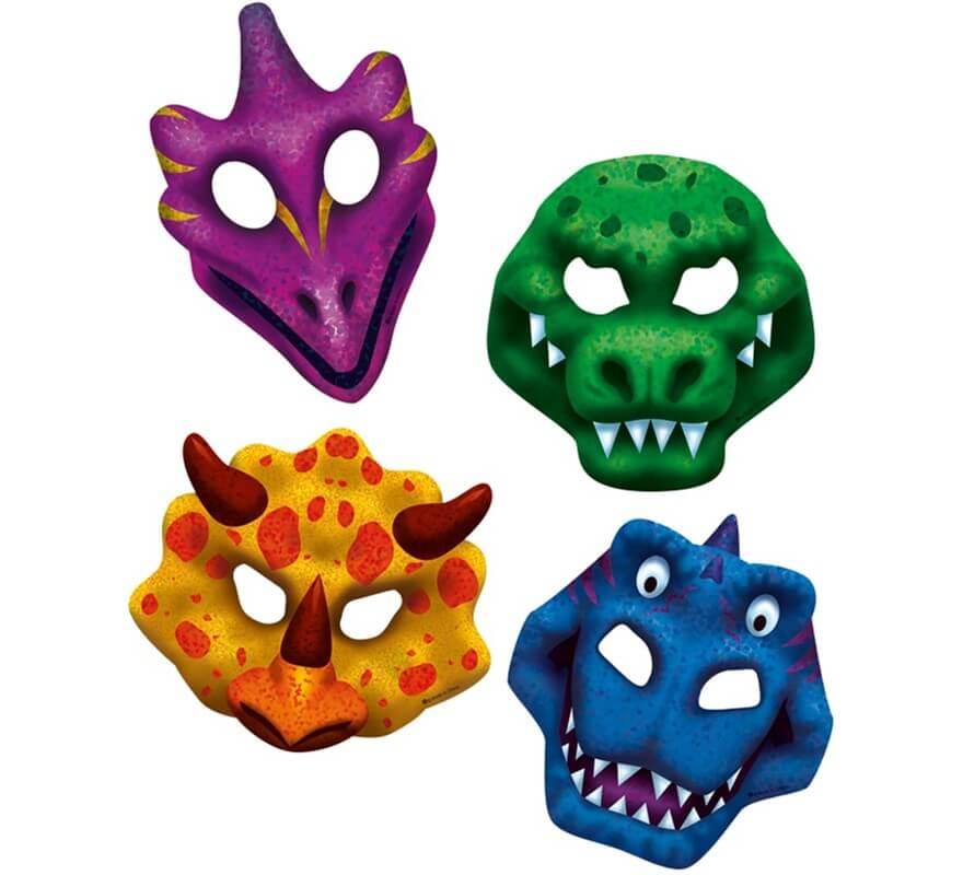 volume grand renommée mondiale magasin officiel Pack de 4 masques de Dinosaure en carton variées