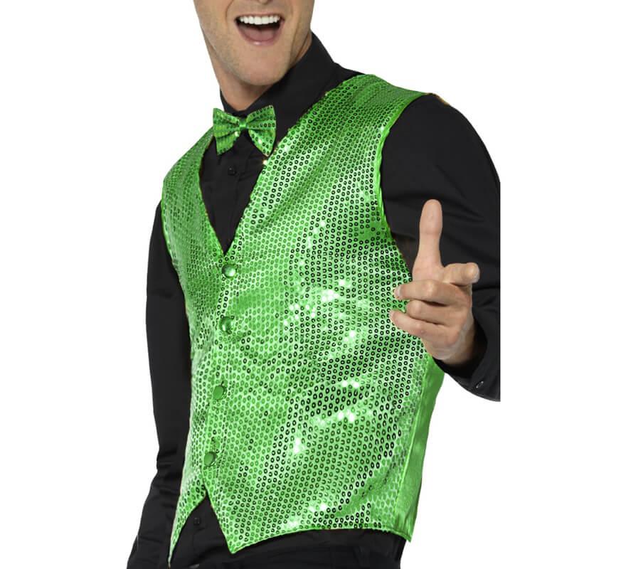 489300936 Chaleco Verde con Lentejuelas para hombre