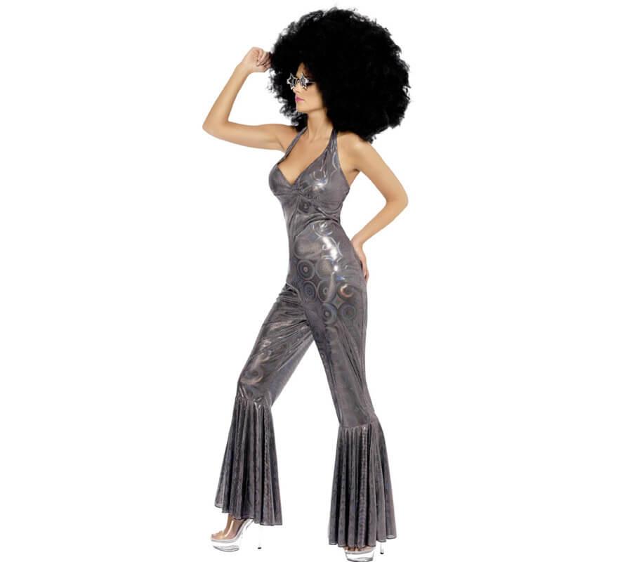 Disfraz Disco de Diva de los 70 Plateado para Mujer-0