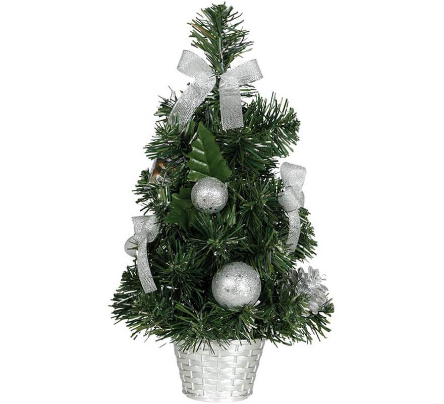 Albero Di Natale 40cm.Albero Di Natale Decorato In Argento Da 40 Cm Con Vaso Di Fiori