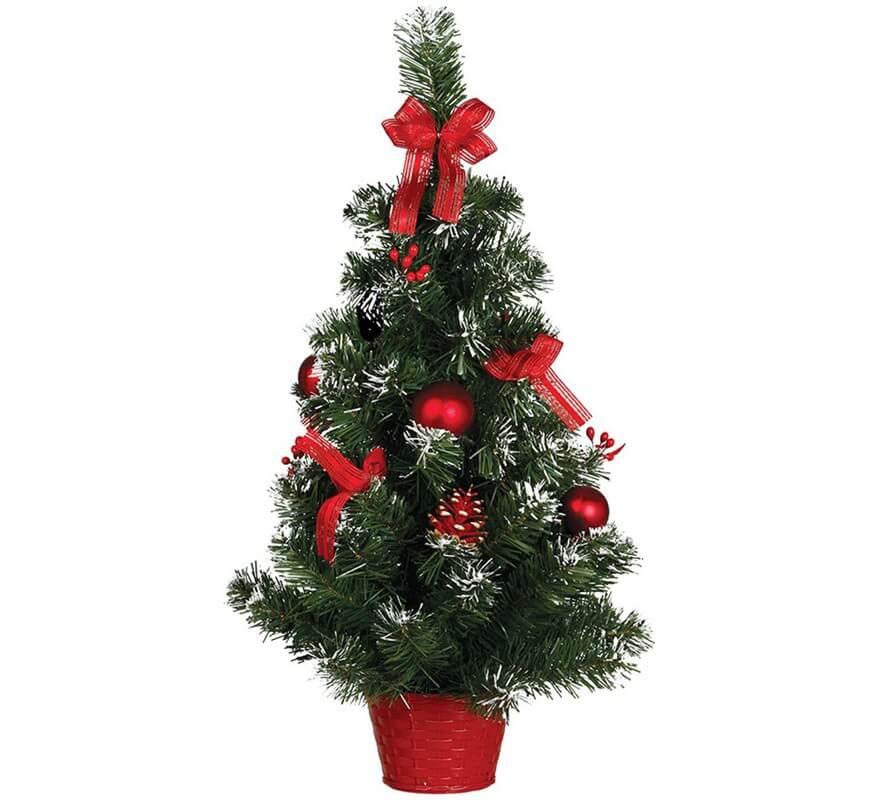 Arbol De Navidad Decorado Rojo Nevado De 60 Cm Con Maceta - Arbol-de-navidad-decorado