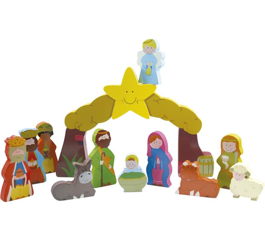 Bel n infantil de madera de 16 piezas - Figuras belen infantil ...