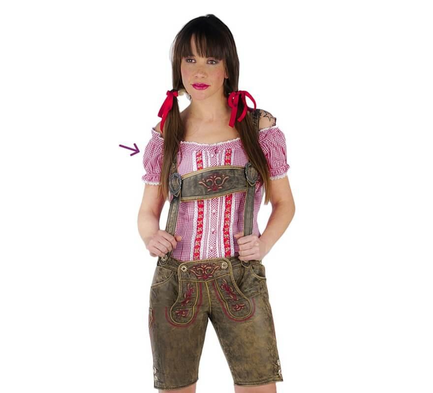 Femme À Pour Carreaux Rouge Oktoberfest Chemise MVpSUz