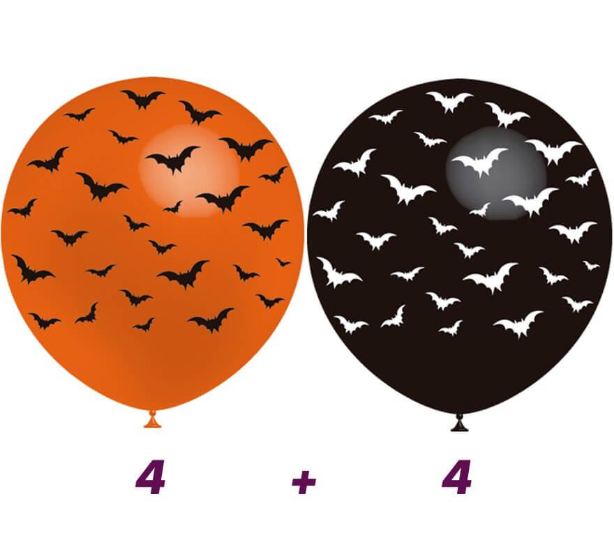Bolsa De 8 Globos De Murciélagos En 2 Colores De 95 Cm