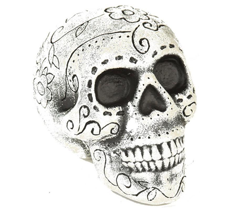 Calavera Día De Los Muertos Blanca Y Negra De 19 Cm