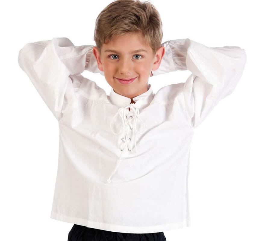 1d3e1b1fed9df chemise Blanche avec cordonnet pour enfant