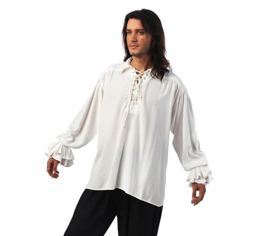 Blanca Volantes Camisa Medieval Hombre Para Con Hwxf6qZ