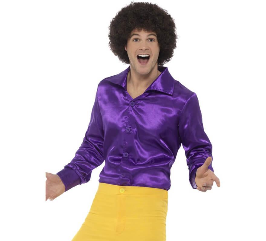 Camisa disco de los años 70 morada para mujer. Comprar Online