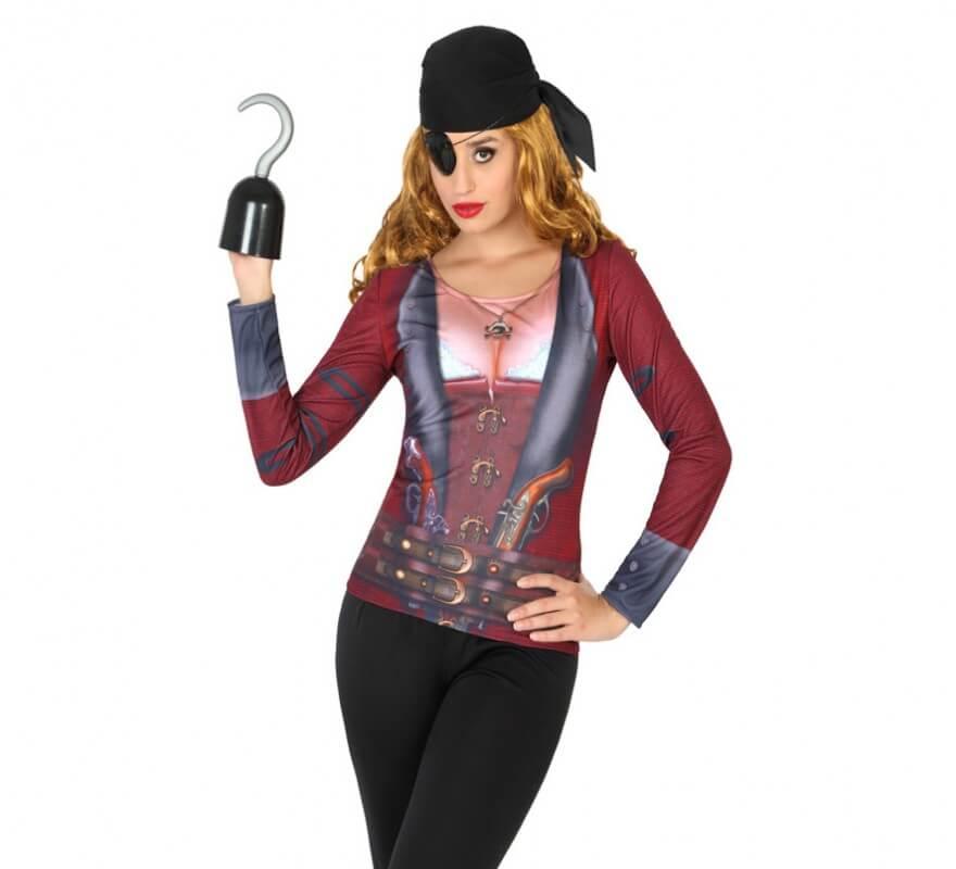 Camiseta Disfraz De Pirata Para Mujer - Maquillaje-de-pirata-para-mujer