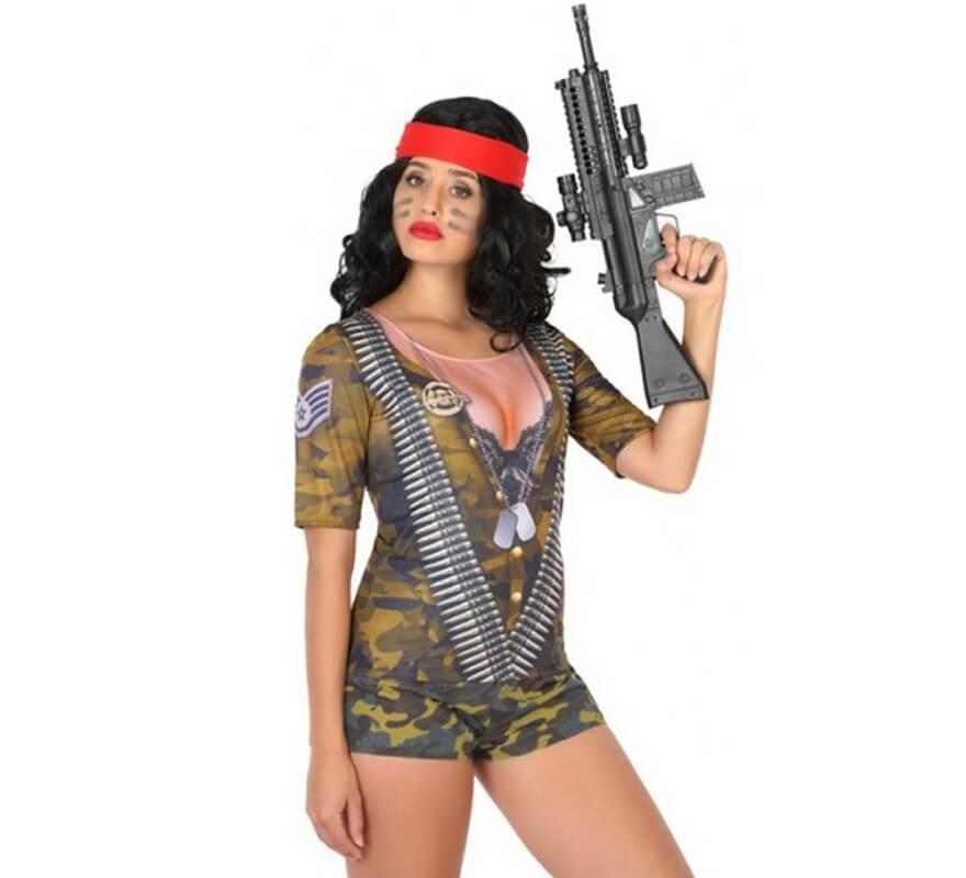 Camuflaje Para Disfraz De Camiseta Soldado Mujer XZkiOwPuTl