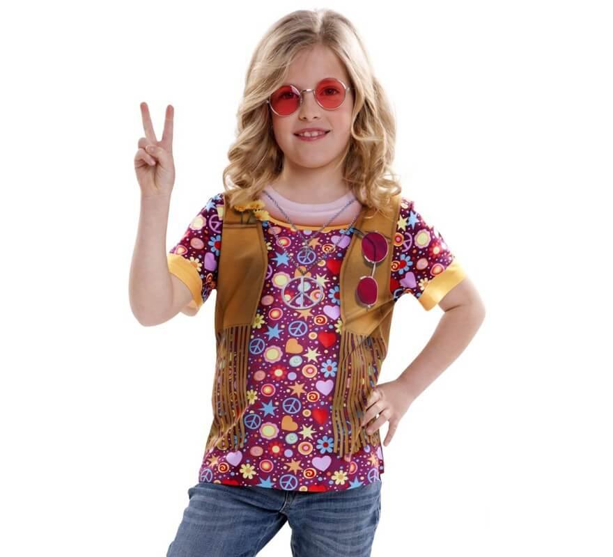 Camiseta disfraz hippie para ni a for Camisetas hippies caseras