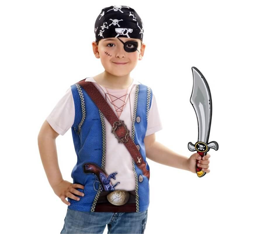 Camiseta Disfraz Pirata Para Nino