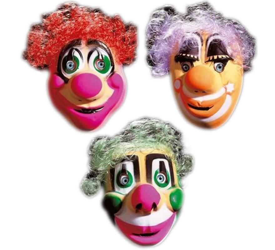 Caretas Clown con pelo infantiles. Precio unidad.