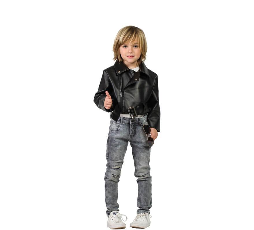 gran inventario Últimas tendencias disfruta del precio de descuento Cazadora de Rockero Negra para niño