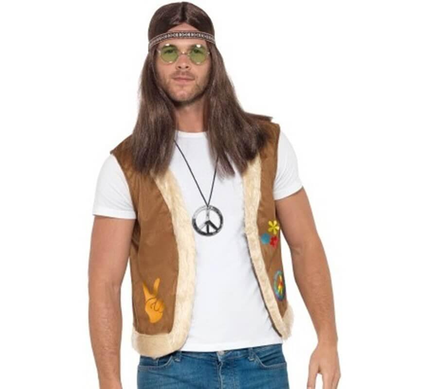 Homme Avec Pour Hippie Marron Symbole Gilet Rj5L4A