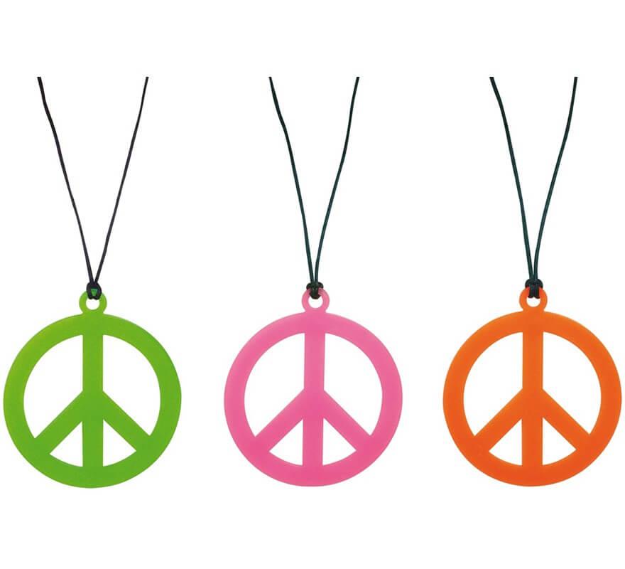 collar hippie símbolo de la paz en colores surtidos