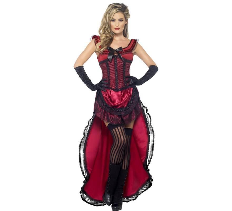 6be38bb79 Disfraz Chica de Saloon color Burdeos para mujer
