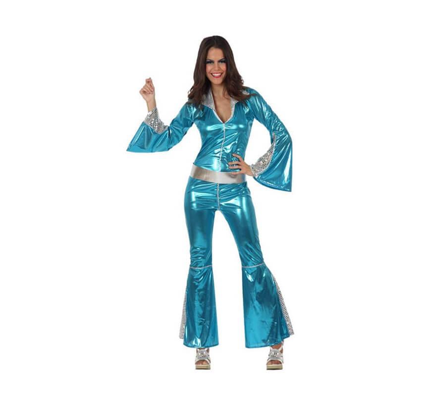 elegir oficial patrones de moda busca lo último Disfraz Chica Disco mono azul para mujer