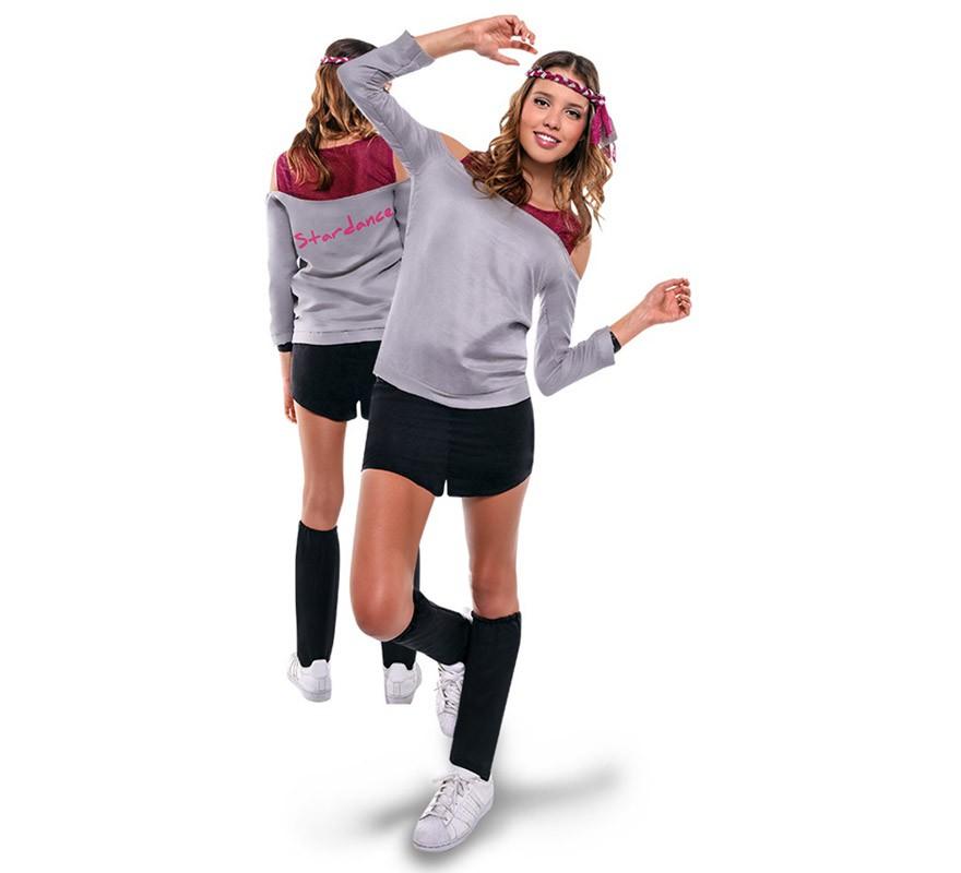 Disfraz De Aerobic Ochentero Gris Para Mujer - Disfraz-facil-y-rapido-para-mujer