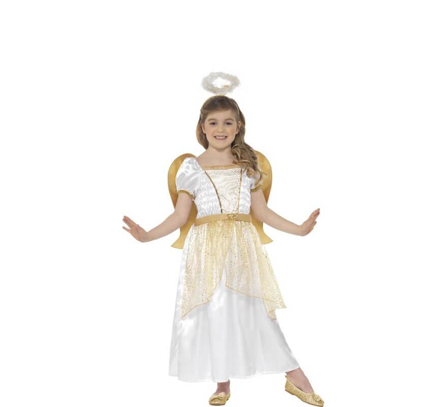 Disfraz de ngel blanco y dorado para ni a - Disfraces de angel para nina ...