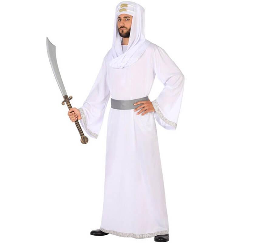 Adulto Uomo Arabo Sceicco Arabo Bianco ROBE Halloween Costume Vestito