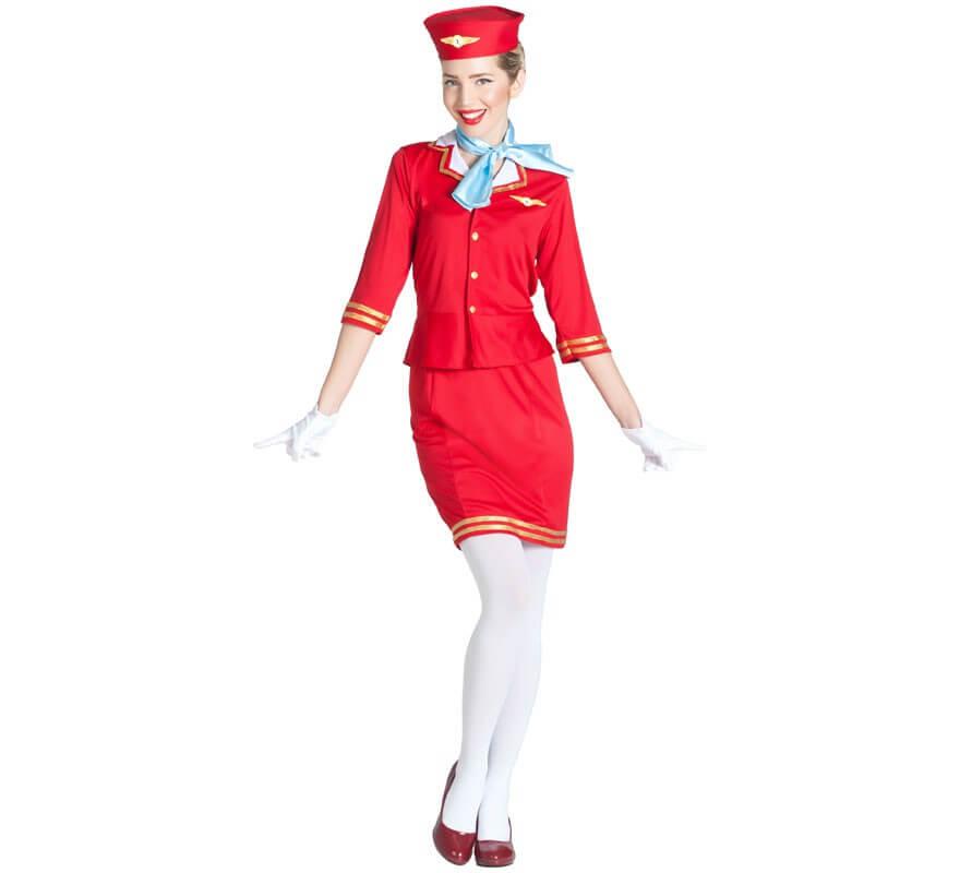 online retailer 21d7a 9d2b7 Costume da hostess di volo rosso per una donna