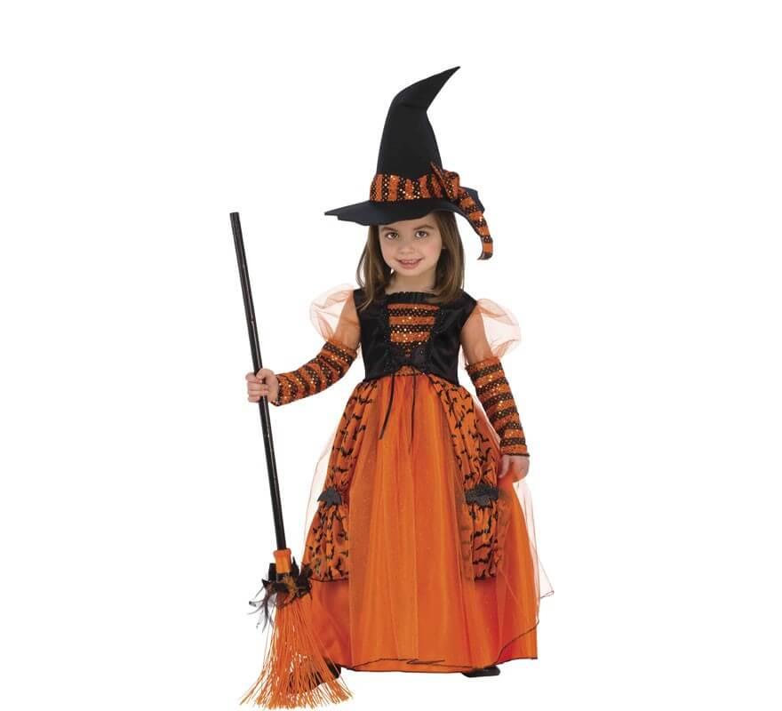 Disfraz de Bruja Naranja a Rayas para niña
