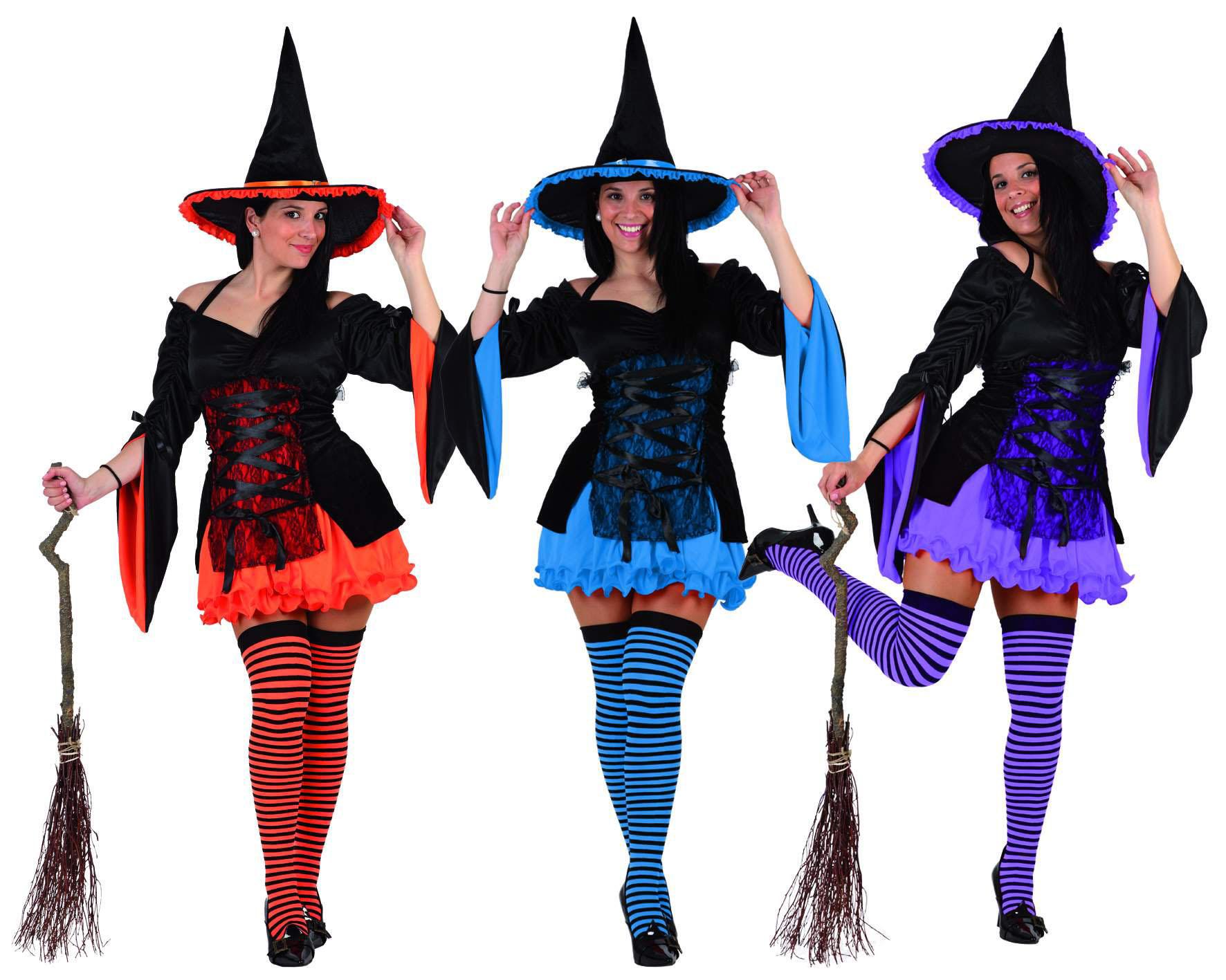 disfraz de bruja para mujer en colores y varias tallas para halloween
