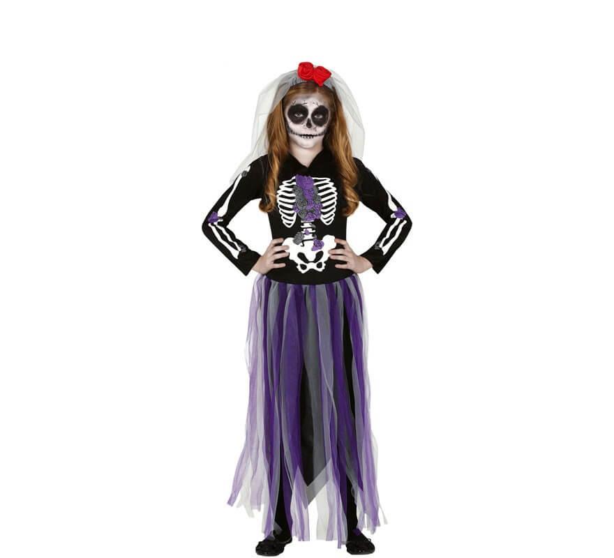 Morada Catrina Niña Para Del Disfraz De Los Muertos Día 29YbeWIDHE