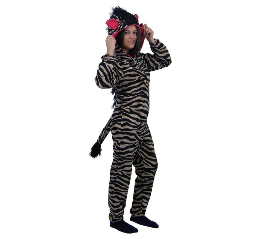 Disfraz de cebra tostada con capucha fucsia adultos for Disfraz de cebra