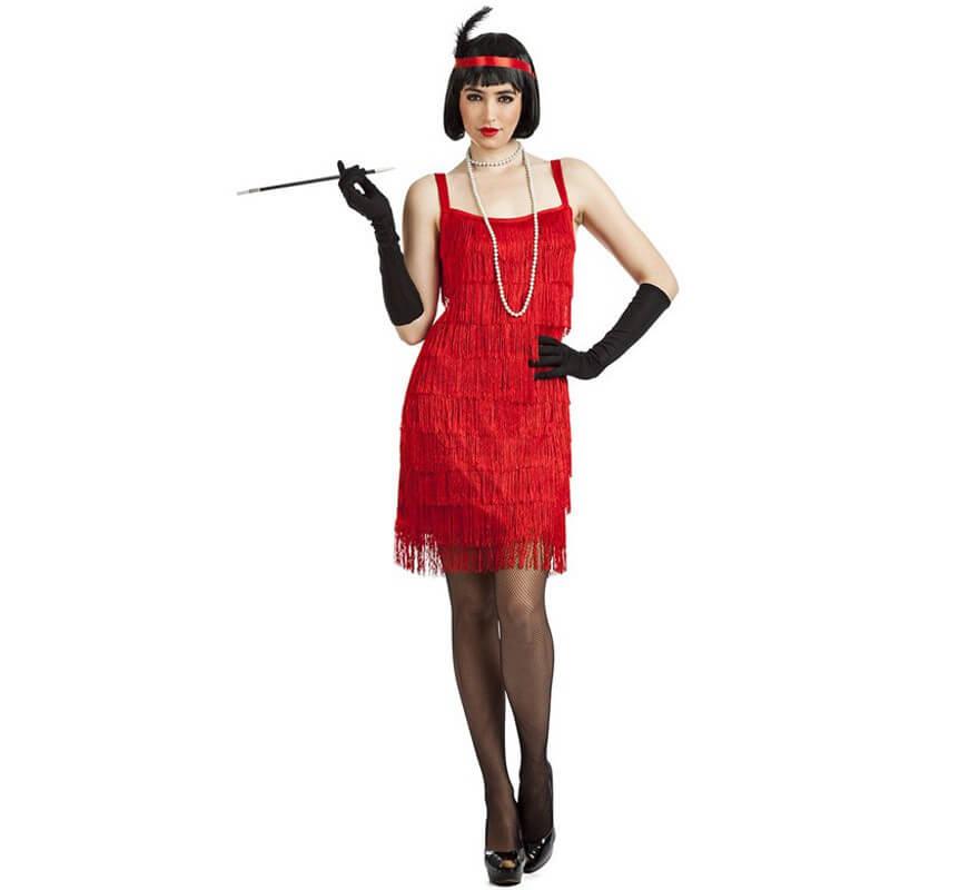 Disfraz De Charleston Con Flecos Rojo Para Mujer