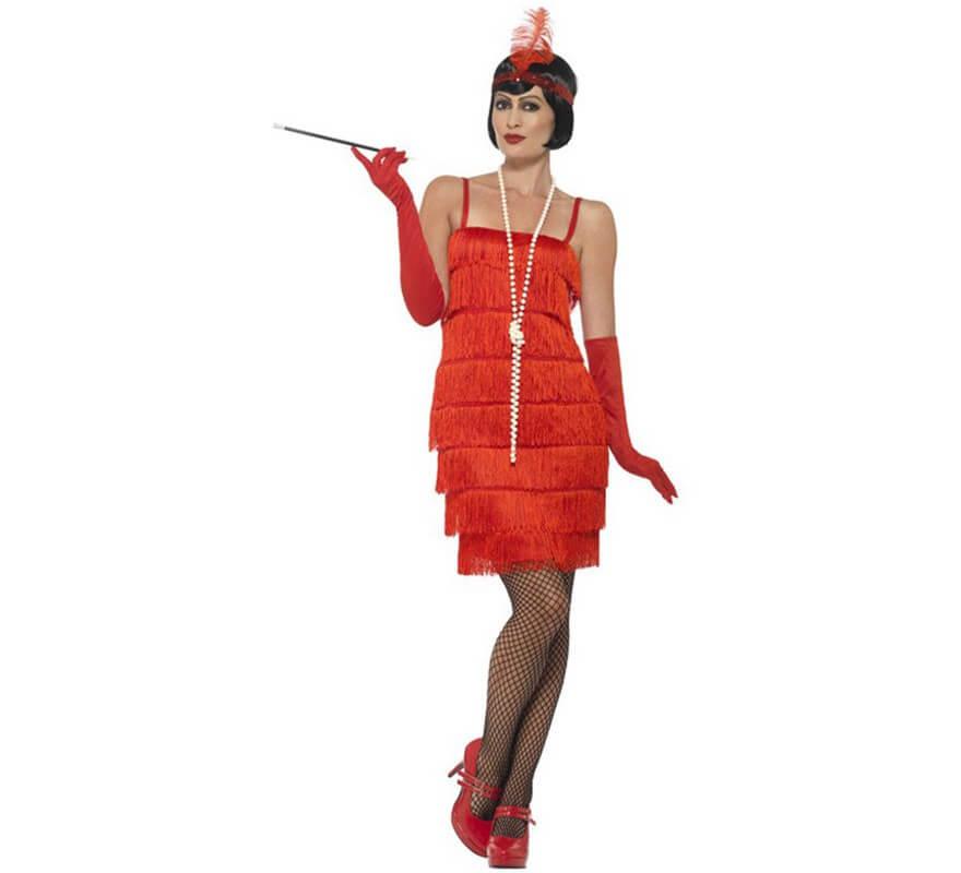 0e43c3ee8 Disfraz de Chica de los Años 20 corto rojo para mujer