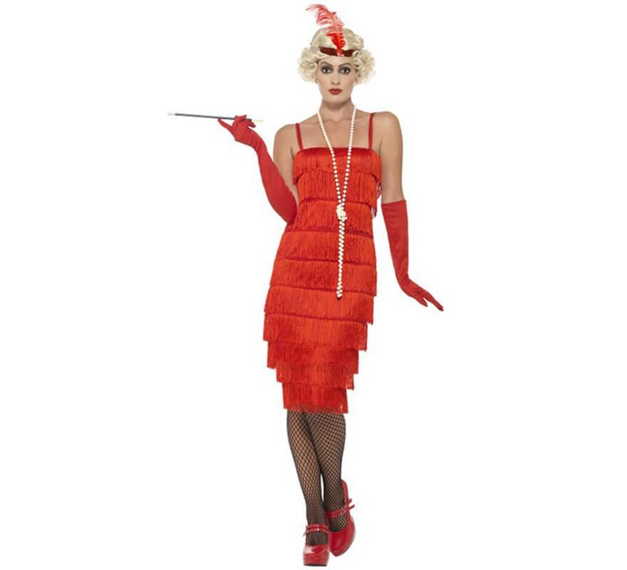 60fd8e3a Disfraz de Chica de los Años 20 rojo largo para mujer