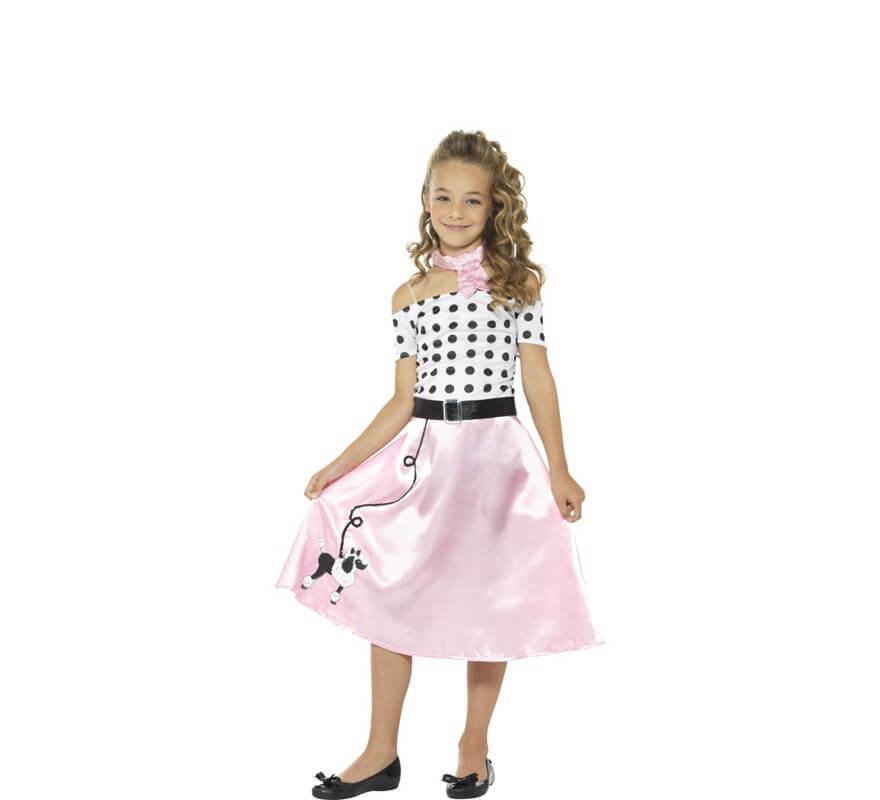 4299c2686 Disfraz de Chica de los Años 50 Rosa para niña