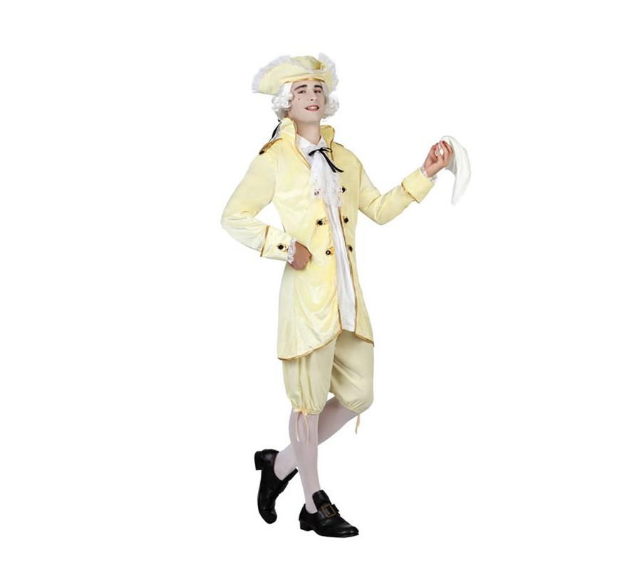 Disfraz de cortesano de poca amarillo de hombre for Disfraces de epoca
