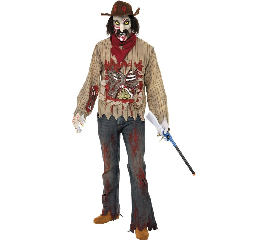 Disfraz De Cowboy O Vaquero Zombie Para Hombre - Maquillaje-zombie-hombre