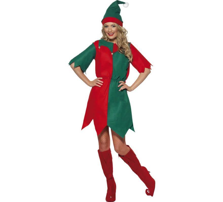 Disfraz de elfo verde y rojo de mujer para navidad - Disfraces para navidad ...