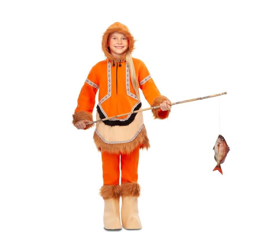 vendita economica vendita calda vendita uk Costume eschimese arancione per bambina