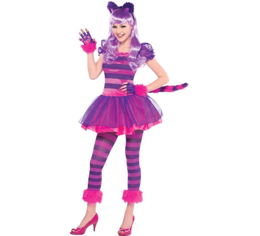 Disfraz de gato Chesire para niñas adolescentes