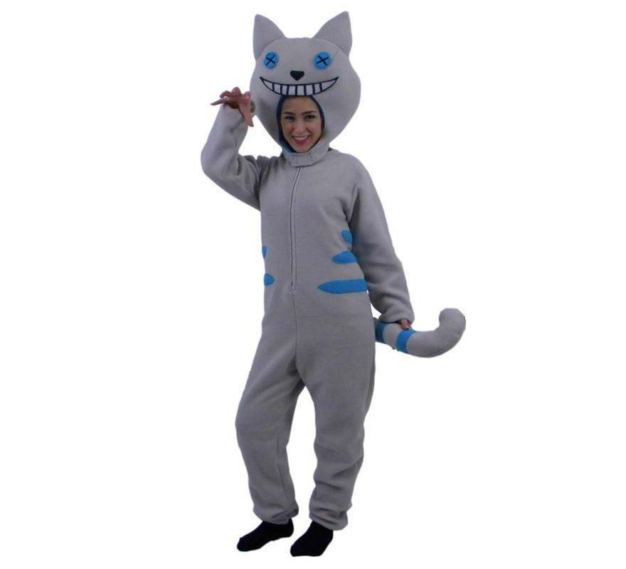 Disfraz de gato sonrisa gris y azul para adultos - Disfraces de gatos para ninos ...