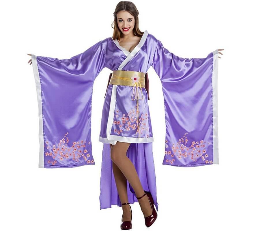Disfraz de Geisha Lila para mujer