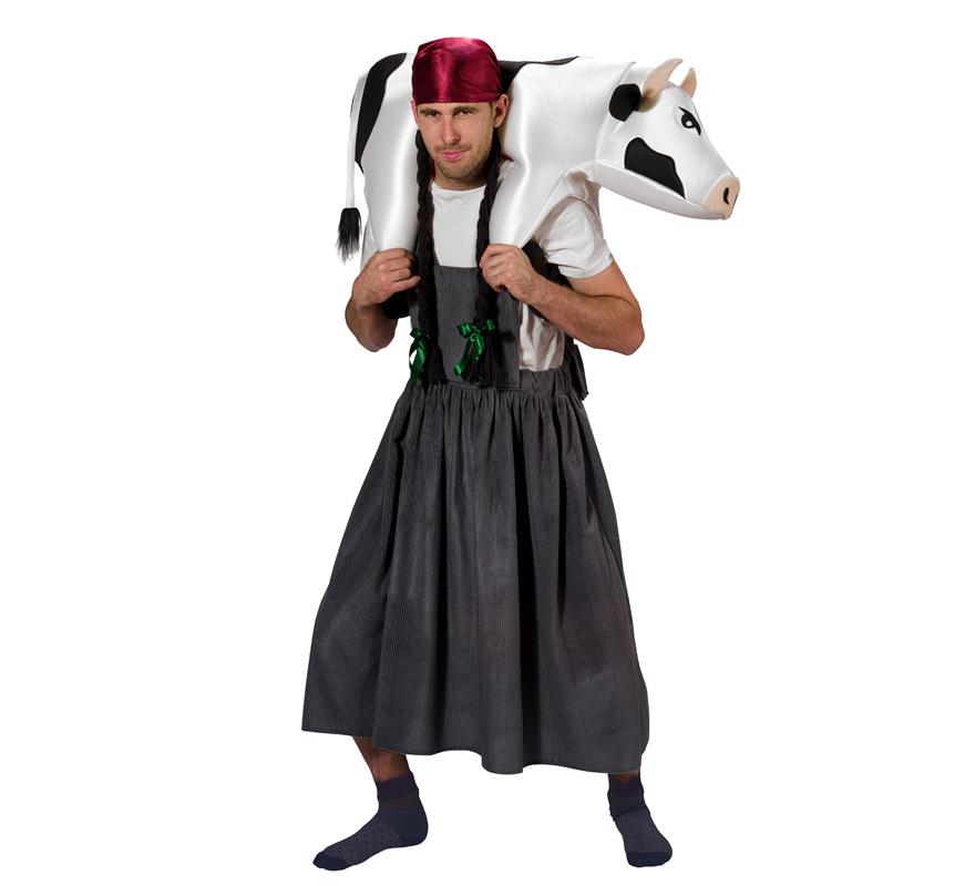 Disfraz de Granjera cargando Vaca para adultos